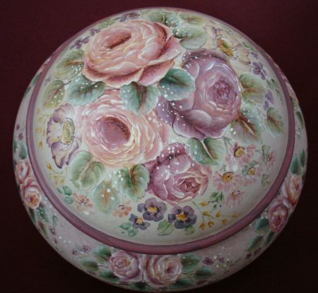 European Flower Gem Box Original Painting