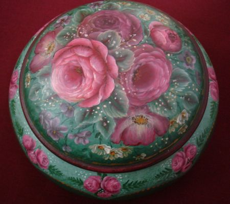 European Flower Gem Box (Green) Original Painting