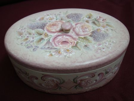European Flower Oval Box Original Painting