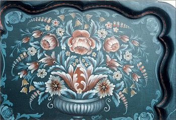 Chippendale Tray with Baroque Flowers Pattern Packet