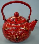 Red Hallingdal Tea Kettle with Tulip